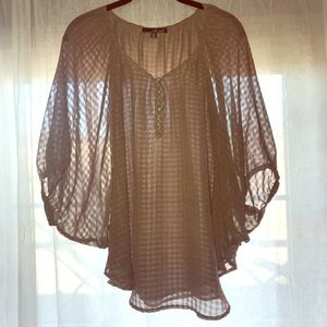 Willie Smith Flowy Taupe Blouse